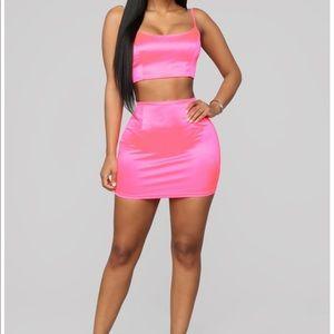 COPY - Neon pink true icon fashion nova skirt set
